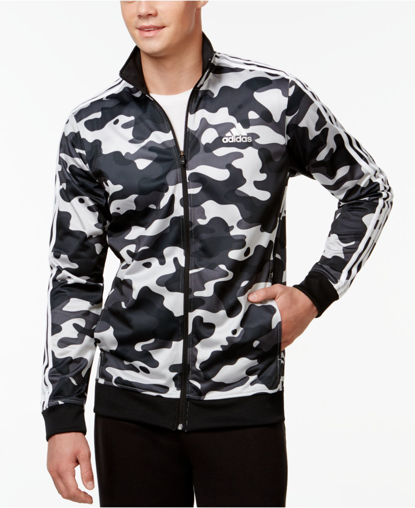 adidas originals men 39 s camo print track jacket in gray for men lyst. Black Bedroom Furniture Sets. Home Design Ideas