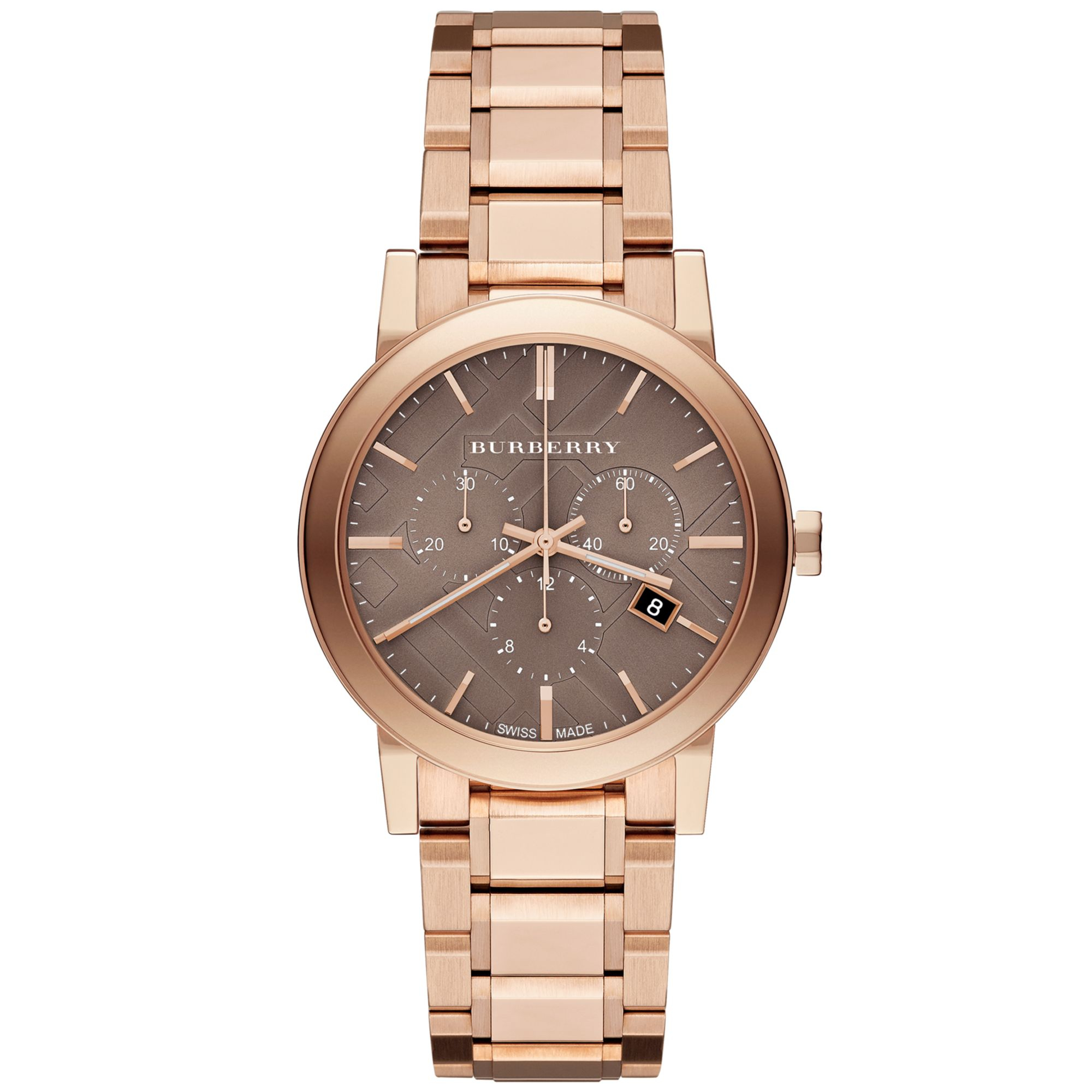 burberry gold lyst steel unisex bracelet chronograph watch watches accessories product plated rose pink stainless golden the dial gallery ionplated city ion normal swiss