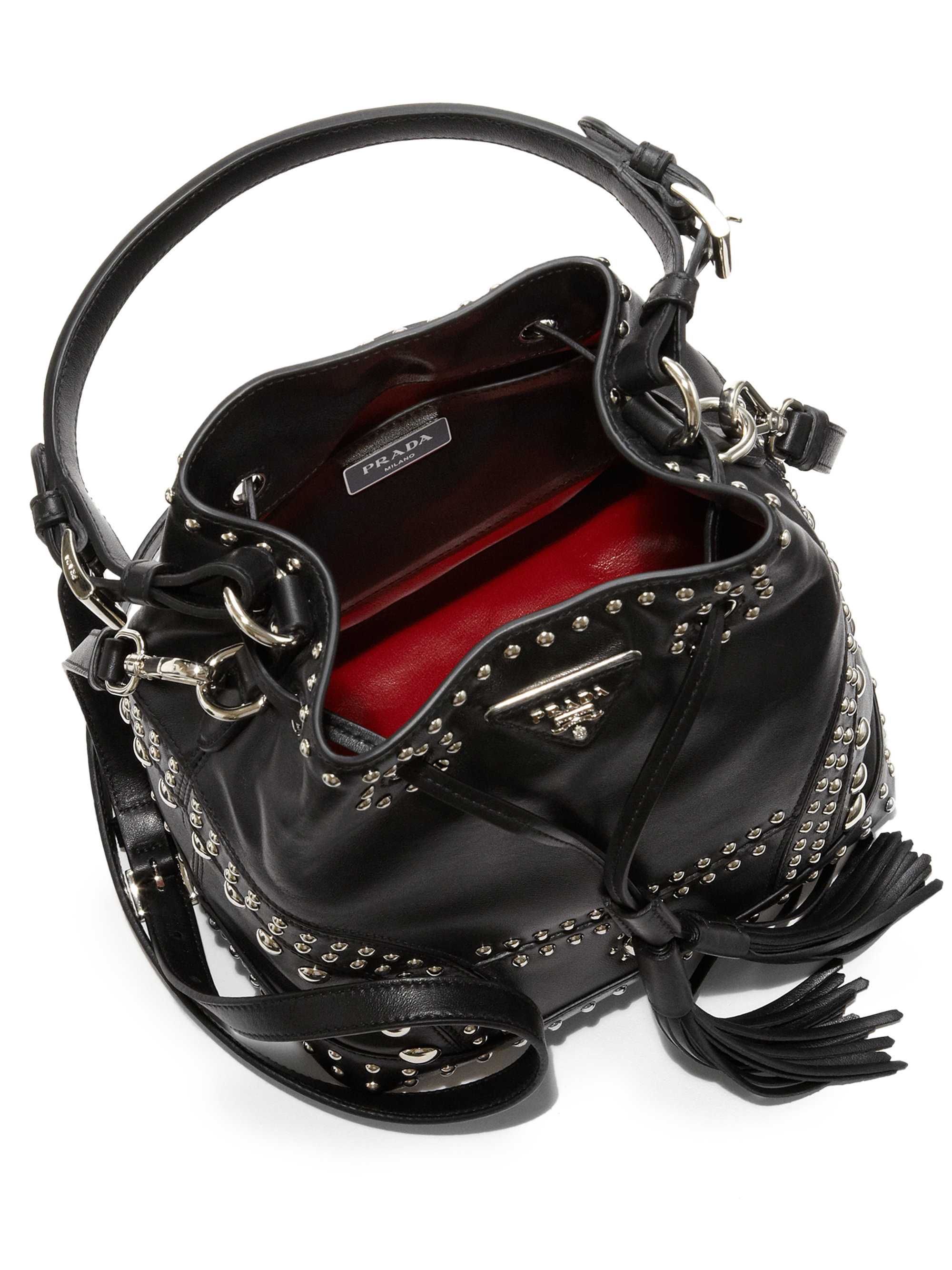 9ca801f1d746 3c7a4 be5e2; cheap the latest f4e05 3dbfa lyst prada soft calf studded small  bucket bag in black dfdcf