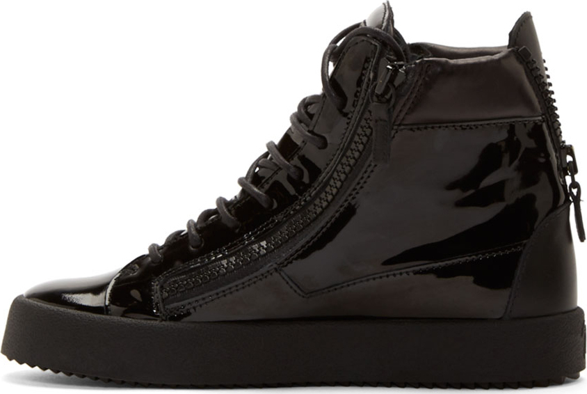 Giuseppe Zanotti Black Patent Leather High Top Sneakers In