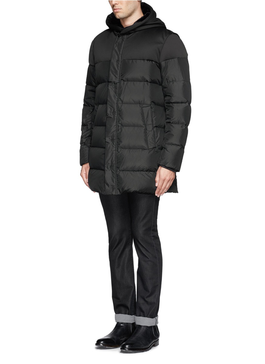 Lyst Armani Quilted Down Coat In Black For Men