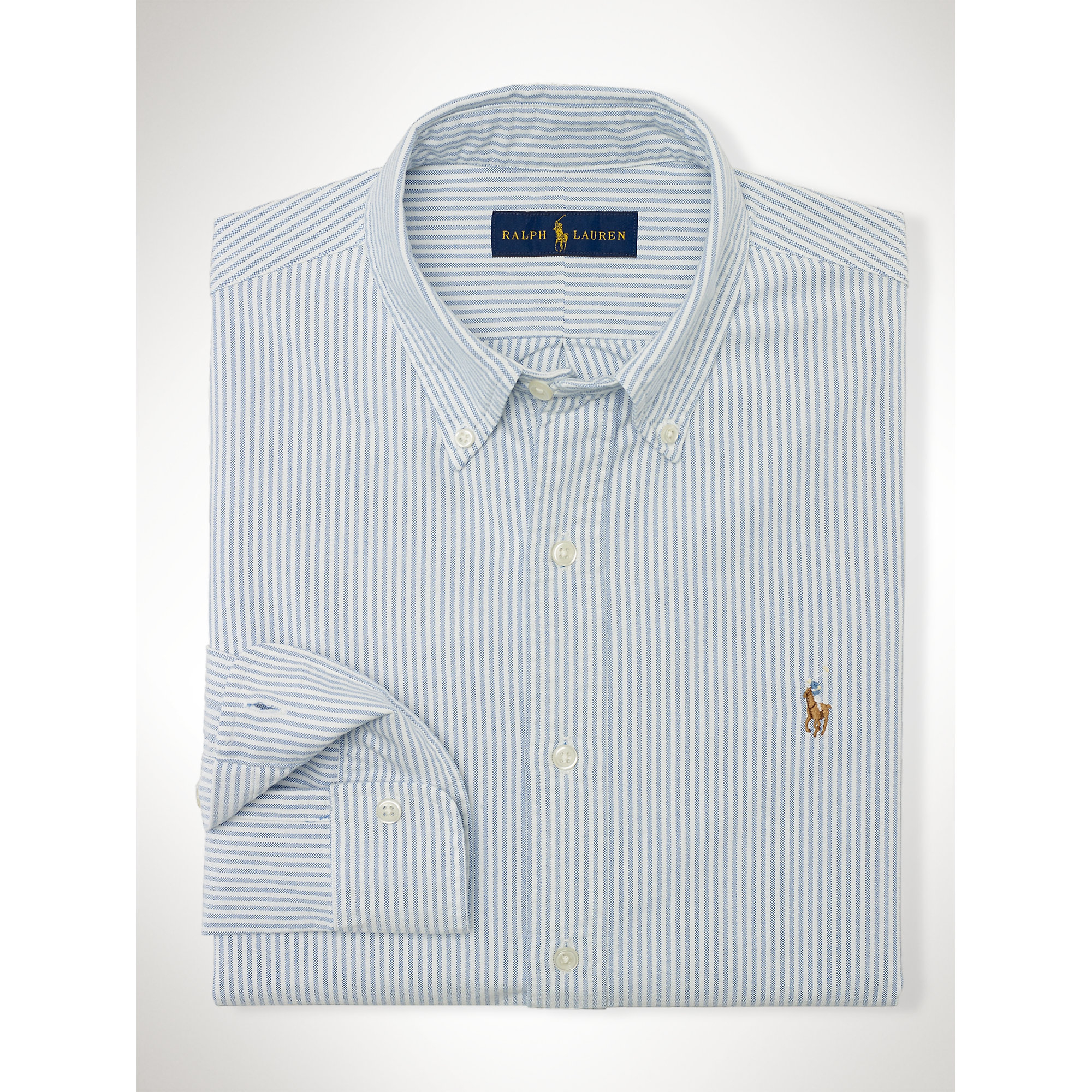 d29379f778 Polo Ralph Lauren Striped Pinpoint Oxford Shirt in Blue for Men - Lyst