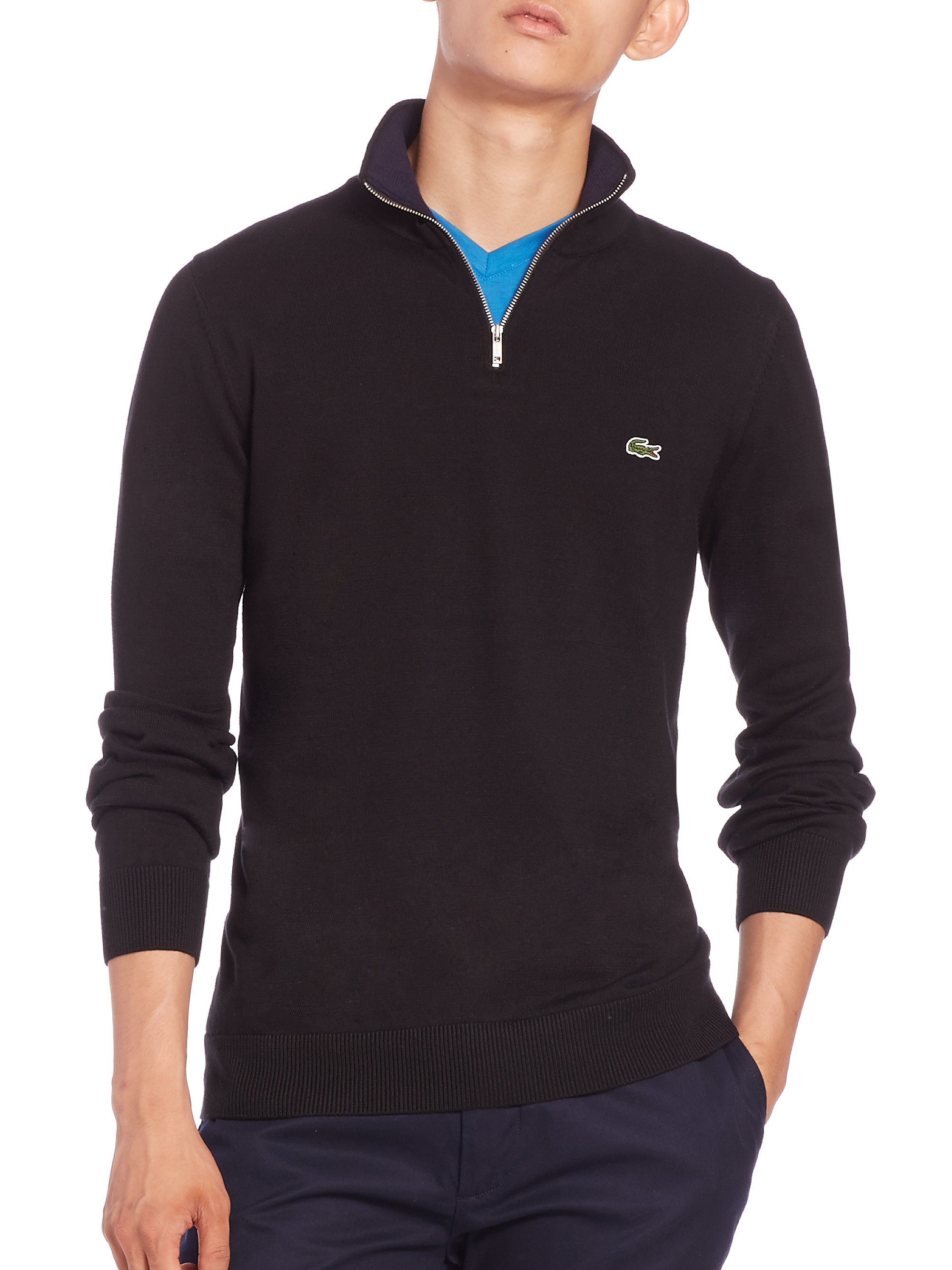 lacoste quarter zip cotton sweater in black for men lyst. Black Bedroom Furniture Sets. Home Design Ideas