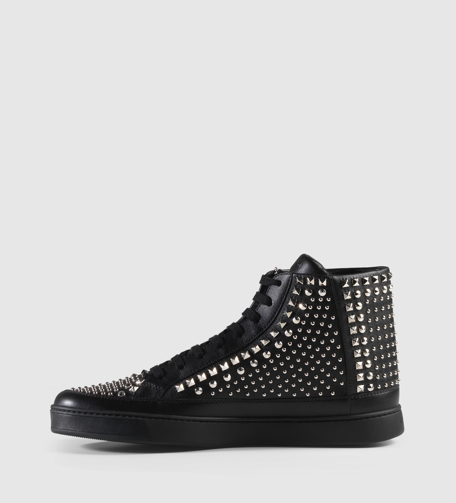 gucci studded leather high top sneaker in black for men lyst. Black Bedroom Furniture Sets. Home Design Ideas
