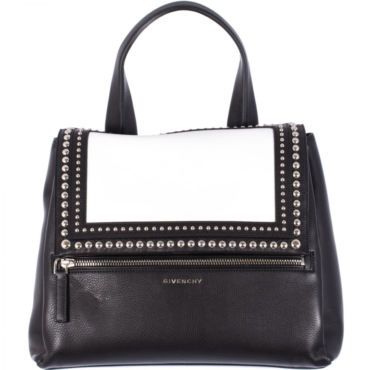 Givenchy Black And White Leather Pandora Pure Medium Bag ...