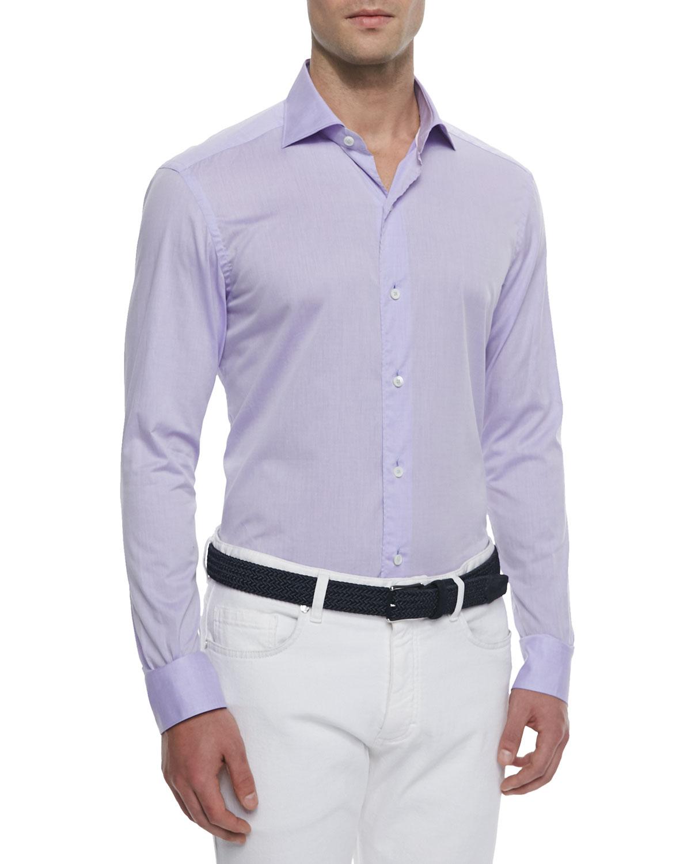 ermenegildo zegna woven solid sport shirt in purple for men lilac lyst. Black Bedroom Furniture Sets. Home Design Ideas