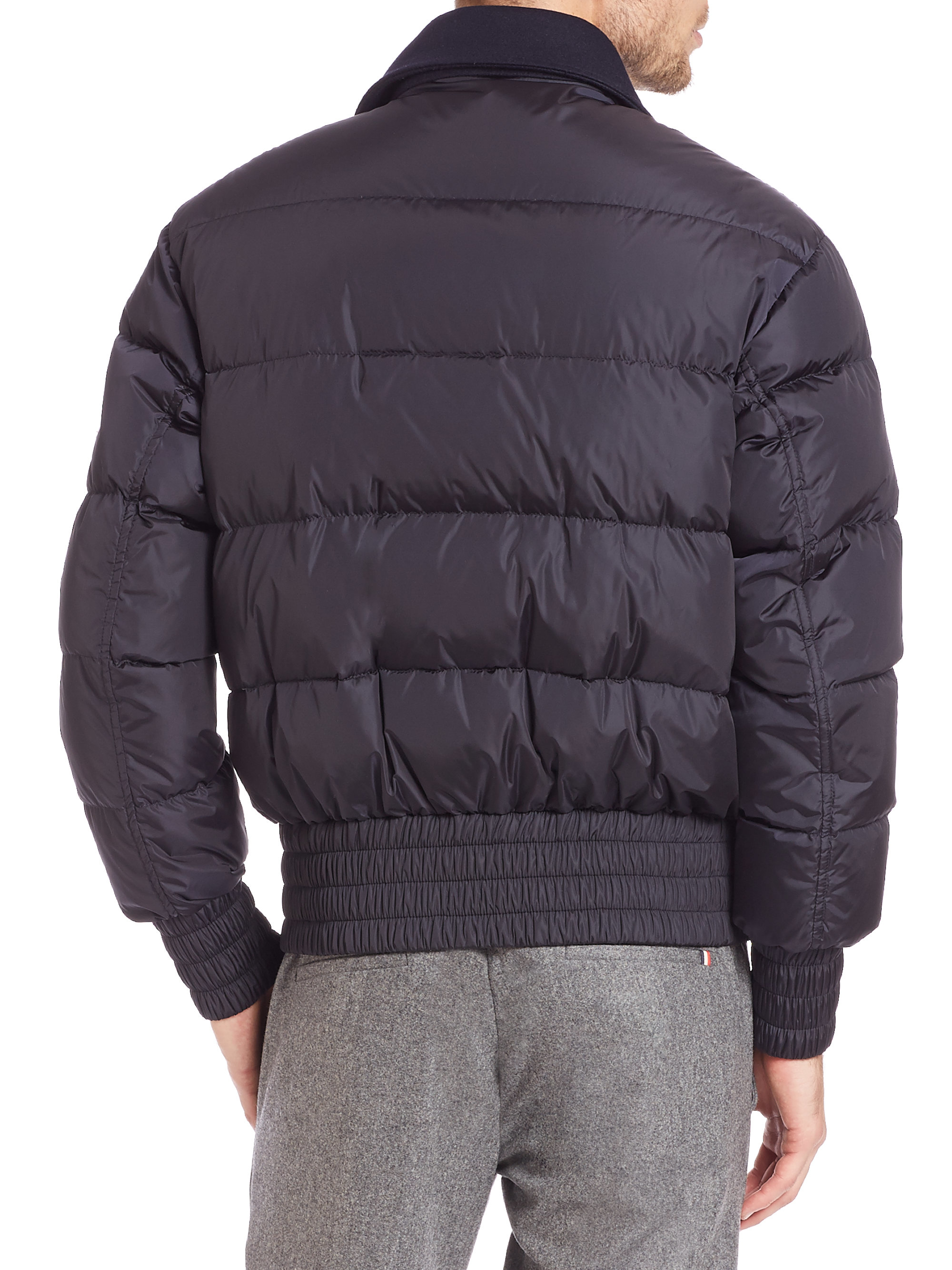 c7ef3e98a Moncler Blue Arnaud Wool-Paneled Quilted Jacket for men