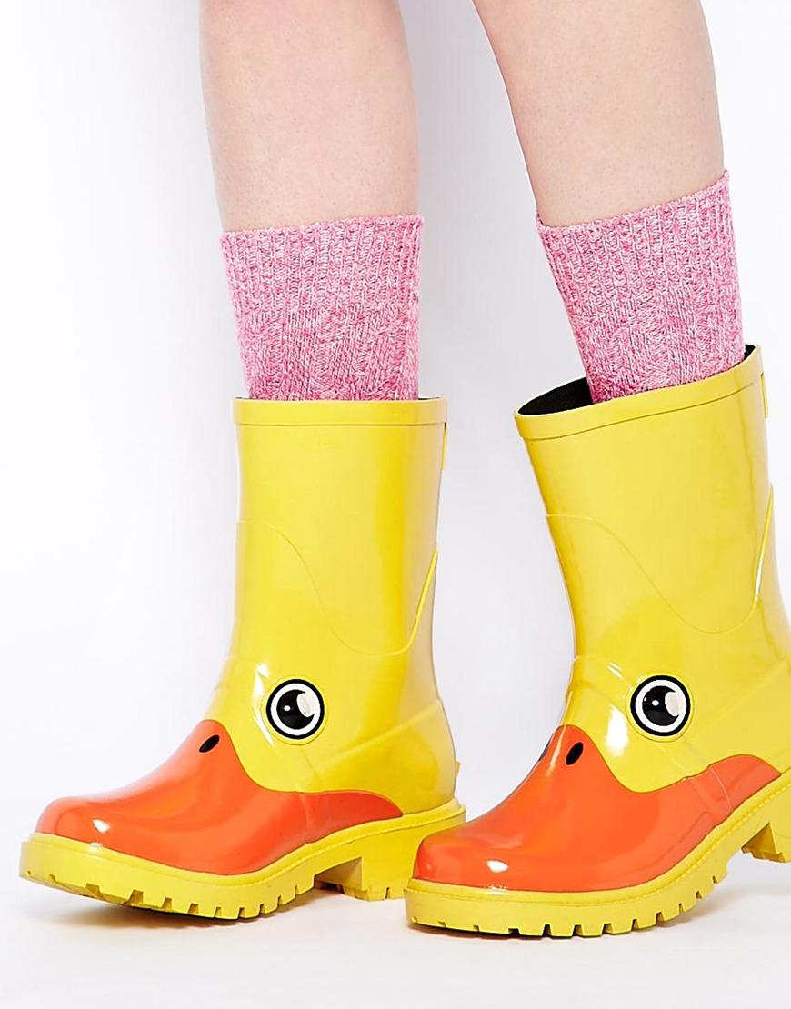 Kigu X Juju Yellow Duck Novelty Wellington Boots in Yellow | Lyst