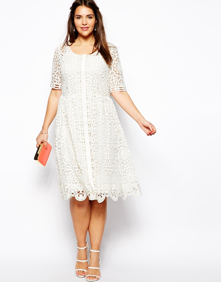 Lyst - Asos Premium Lace Midi Dress in Crochet Lace in White