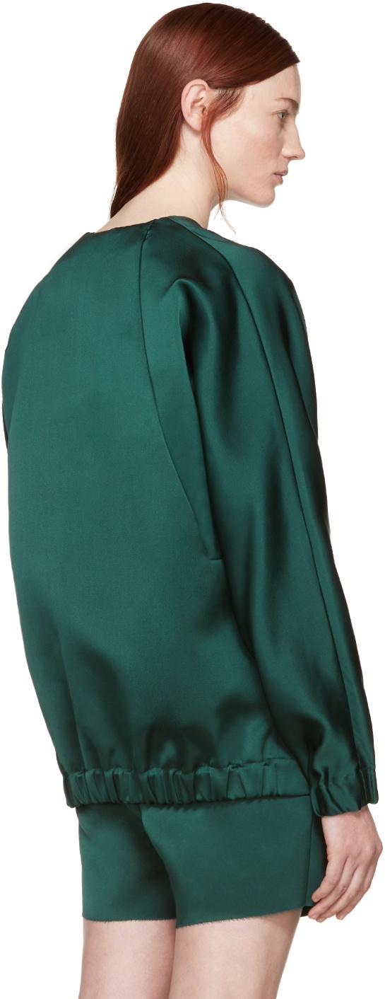 Marni Green Satin Silk Bomber Jacket In Green Lyst