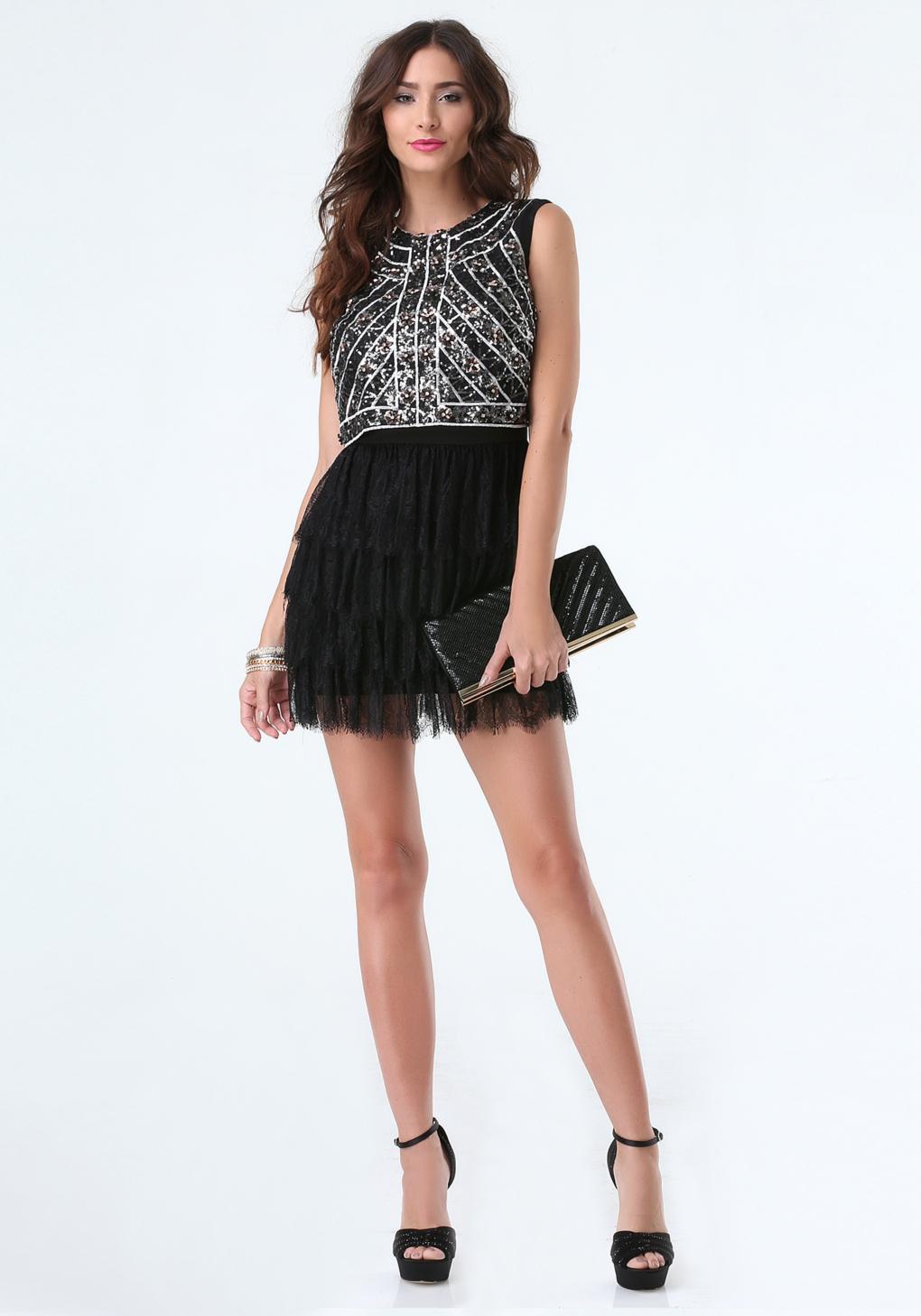 Lyst Bebe Sequin Amp Lace Ruffle Dress In Black