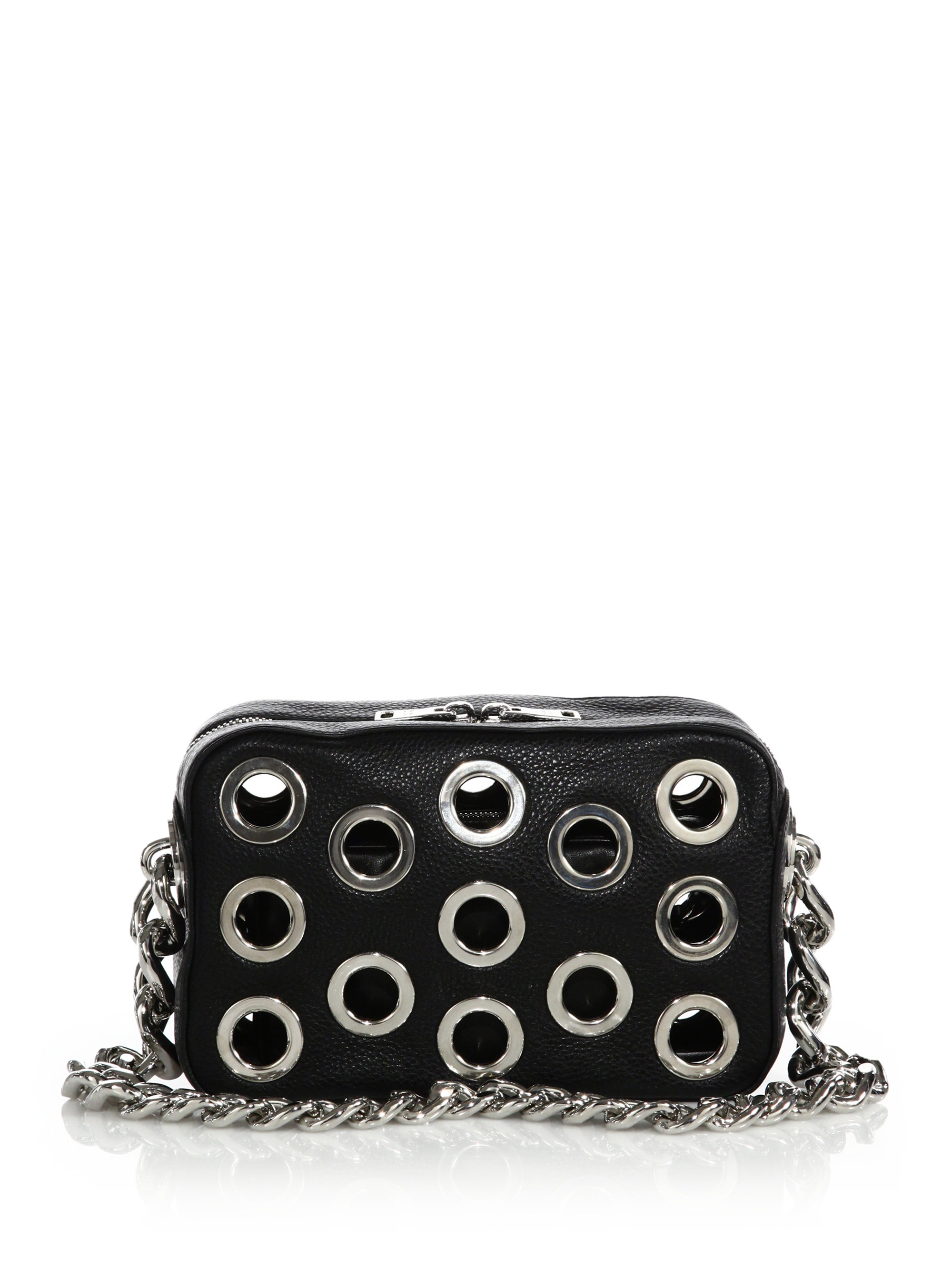 Prada Daino Chain Bowler Bag With Grommets in Black (nero) | Lyst