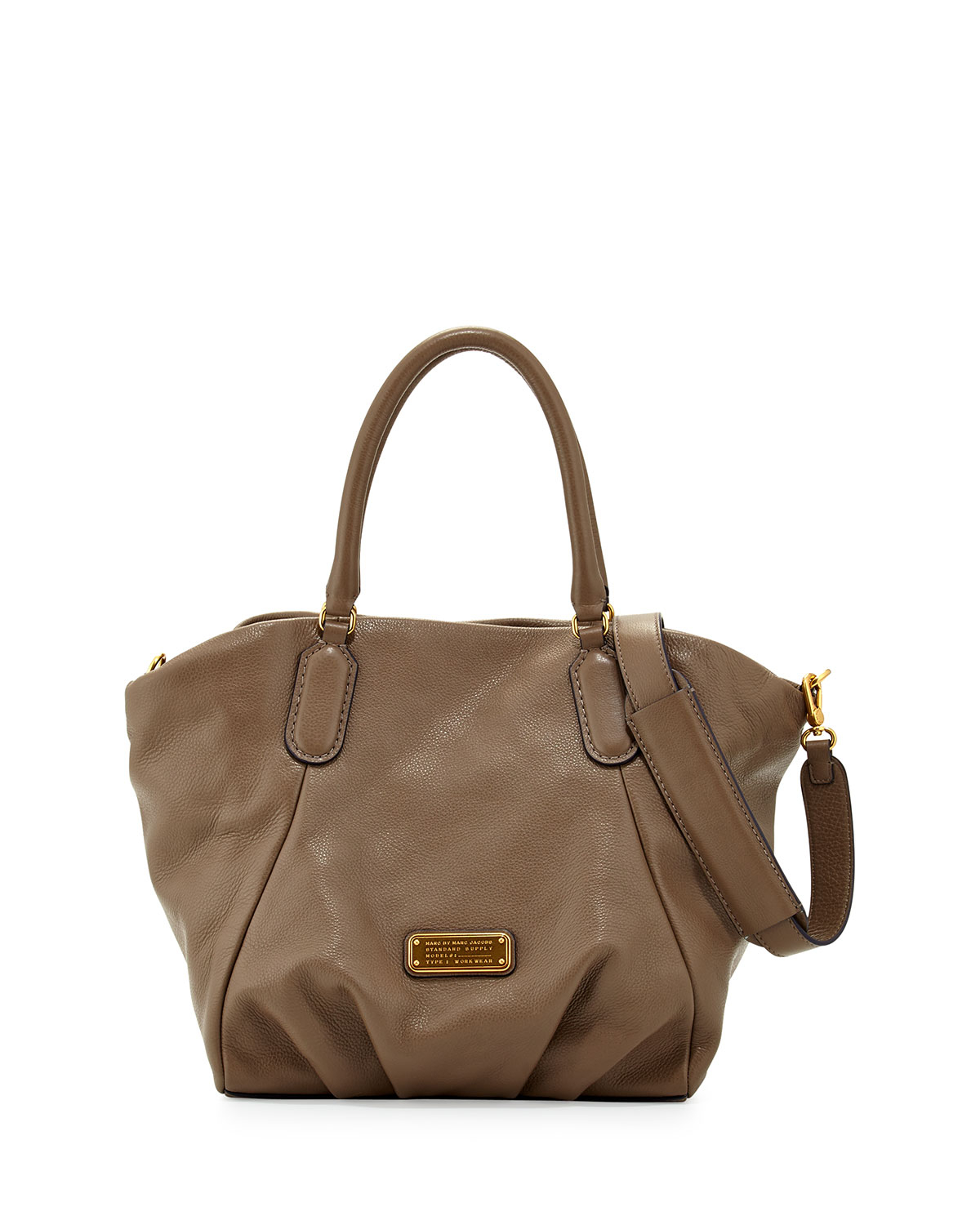 marc by marc jacobs new q fran leather tote bag in brown taupe lyst. Black Bedroom Furniture Sets. Home Design Ideas