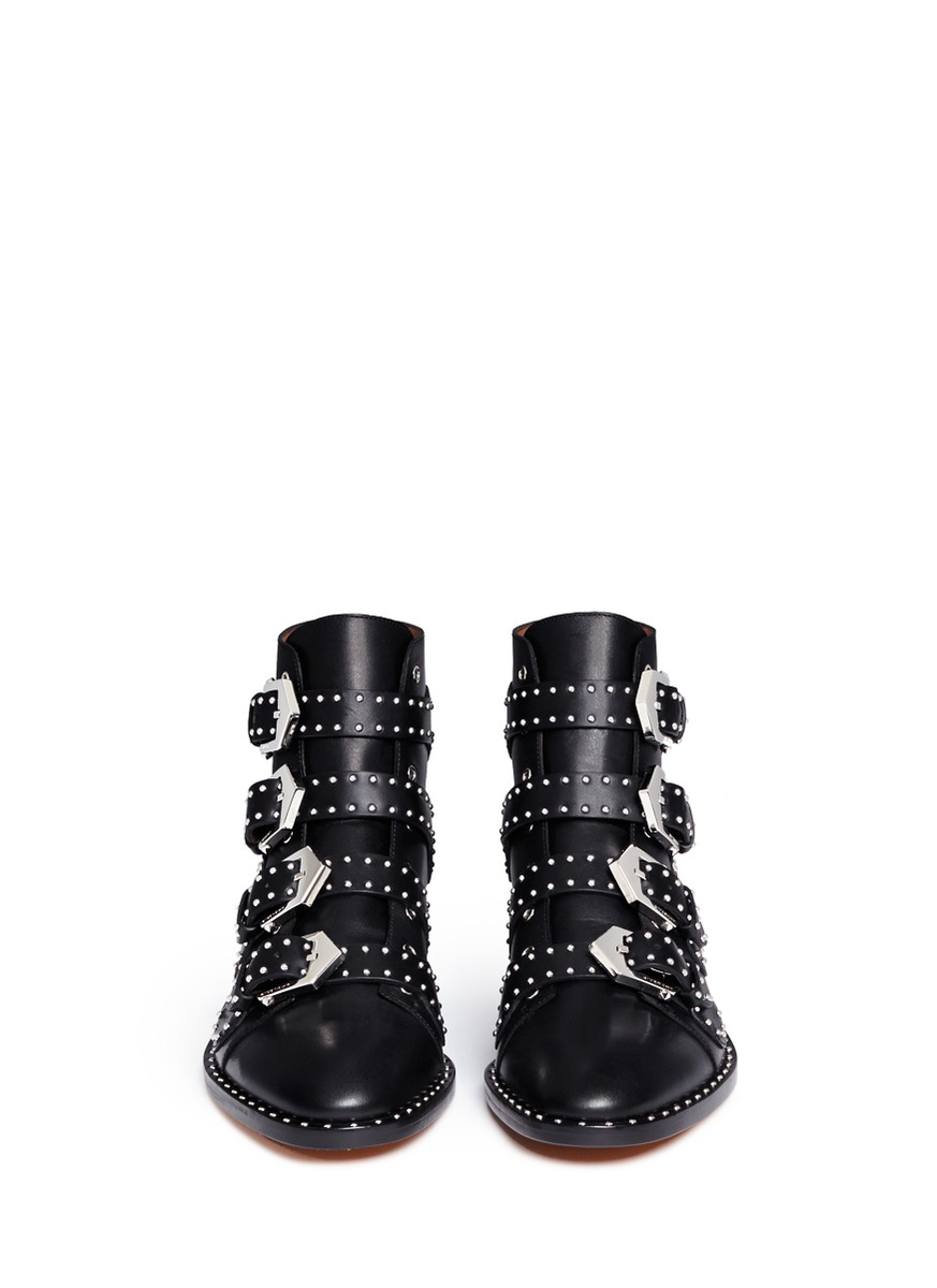 41cc592ae45 Givenchy Black Studded Leather Ankle Boots