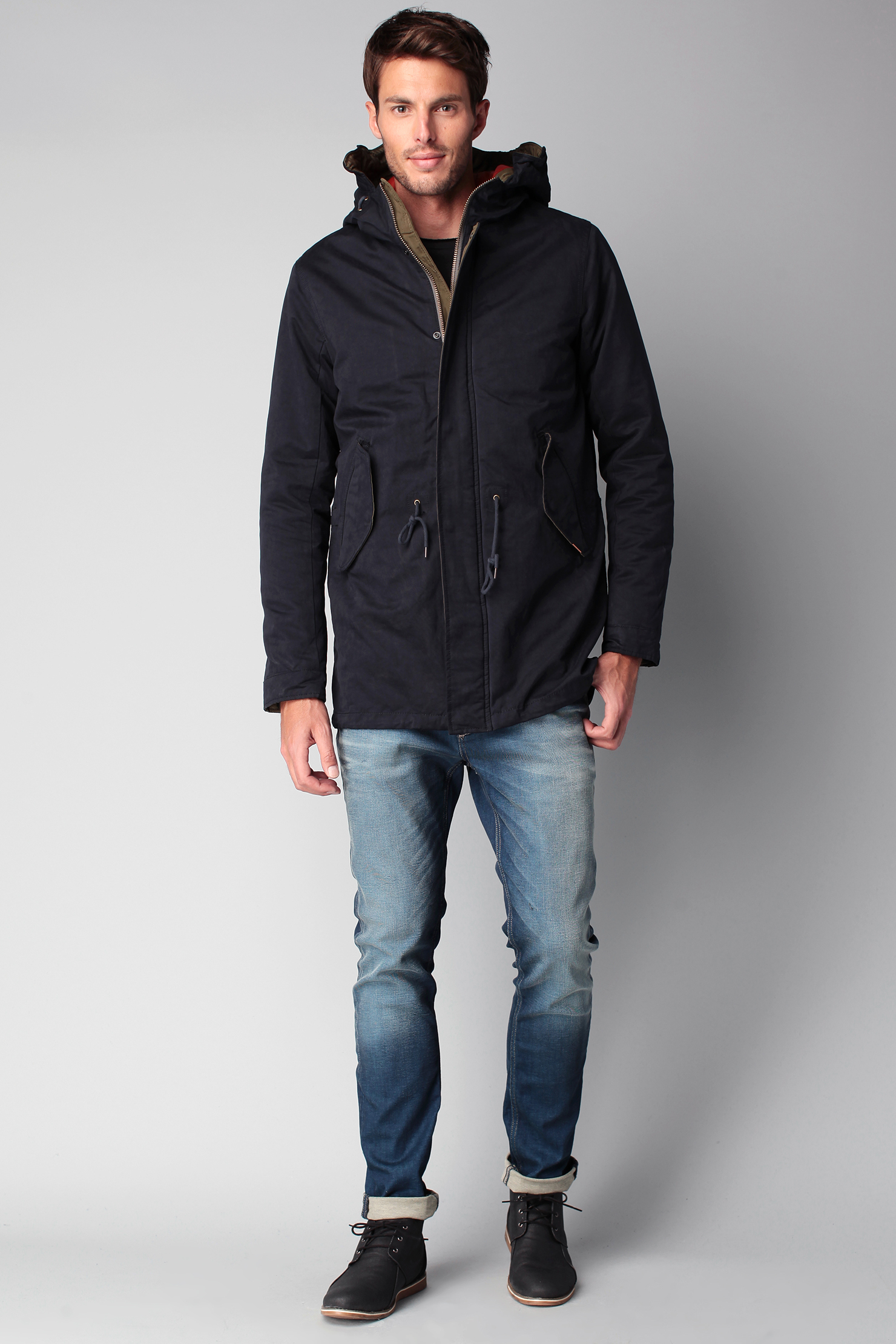 jack jones parka in blue for men lyst. Black Bedroom Furniture Sets. Home Design Ideas