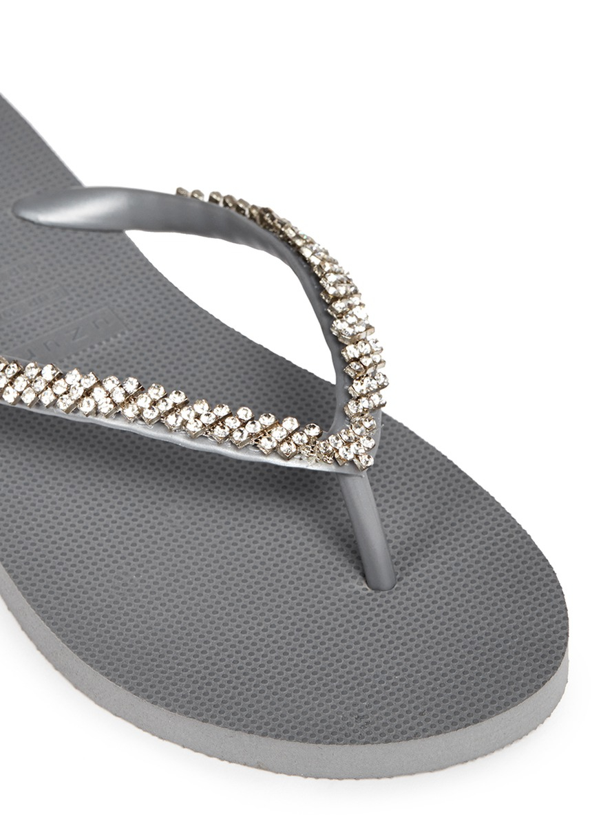 8f88fb7f5 Lyst - Uzurii  classic  Crystal Flip Flops in Gray