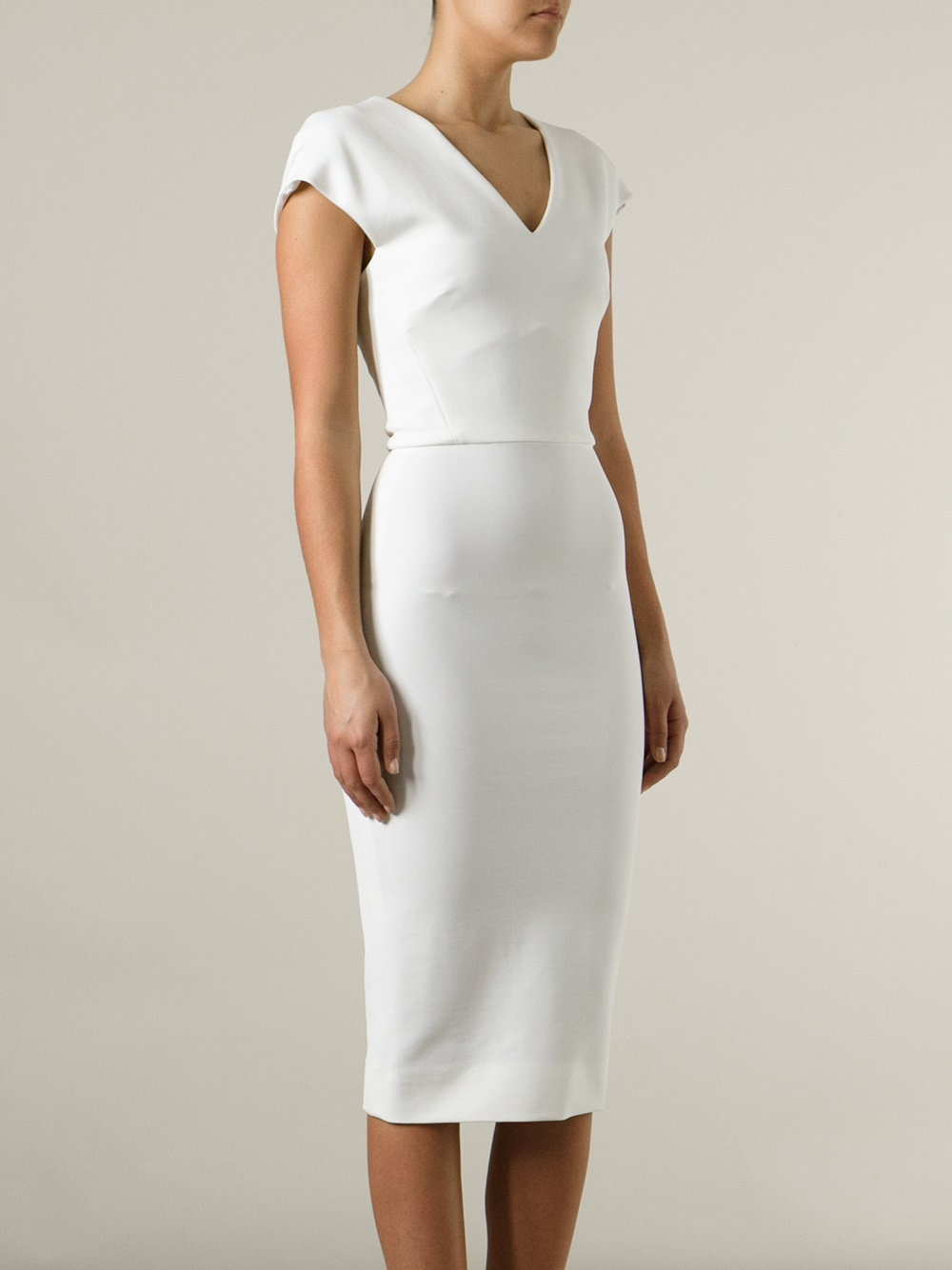 Victoria Beckham White Fitted Pencil Dress