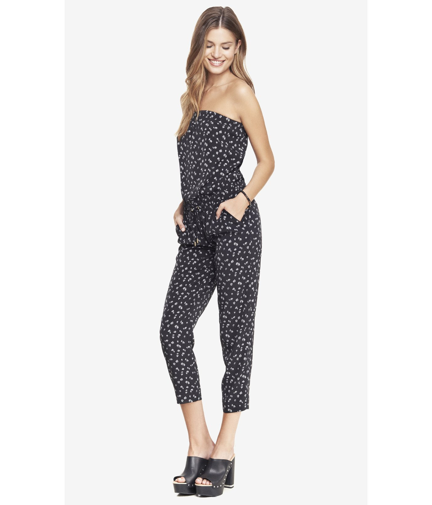 fd3cad58b50e Lyst - Express Strapless Jumpsuit - Floral Print in Black