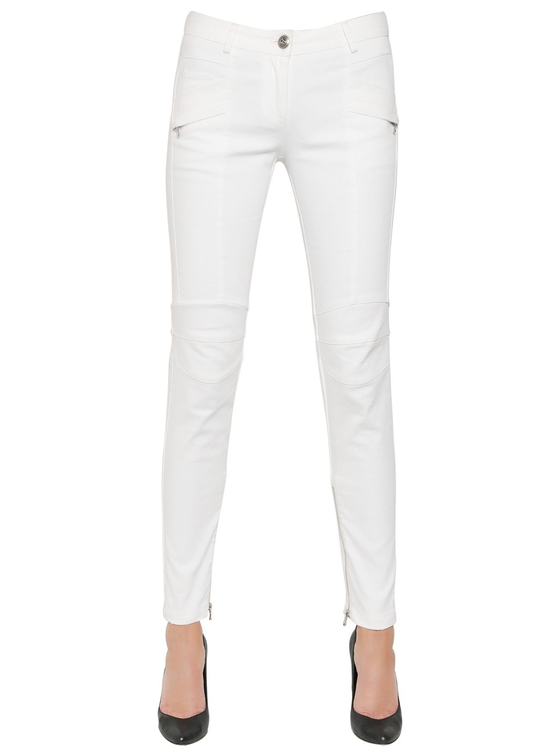 balmain stretch cotton denim jeans in white save 31 lyst. Black Bedroom Furniture Sets. Home Design Ideas