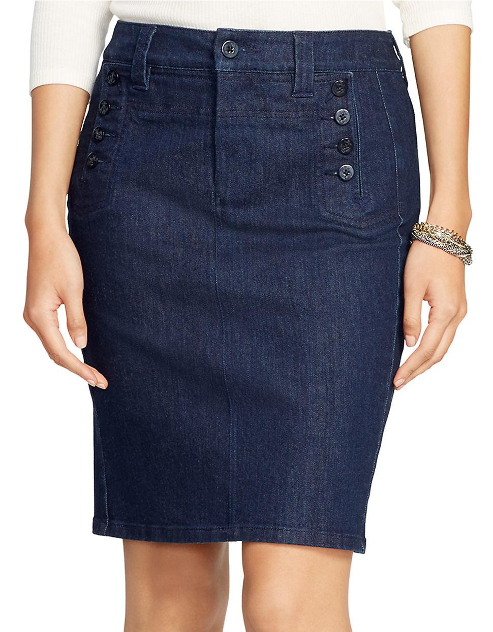 4646bf99018 Lyst - Lauren By Ralph Lauren Stretch-denim Pencil Skirt in Blue
