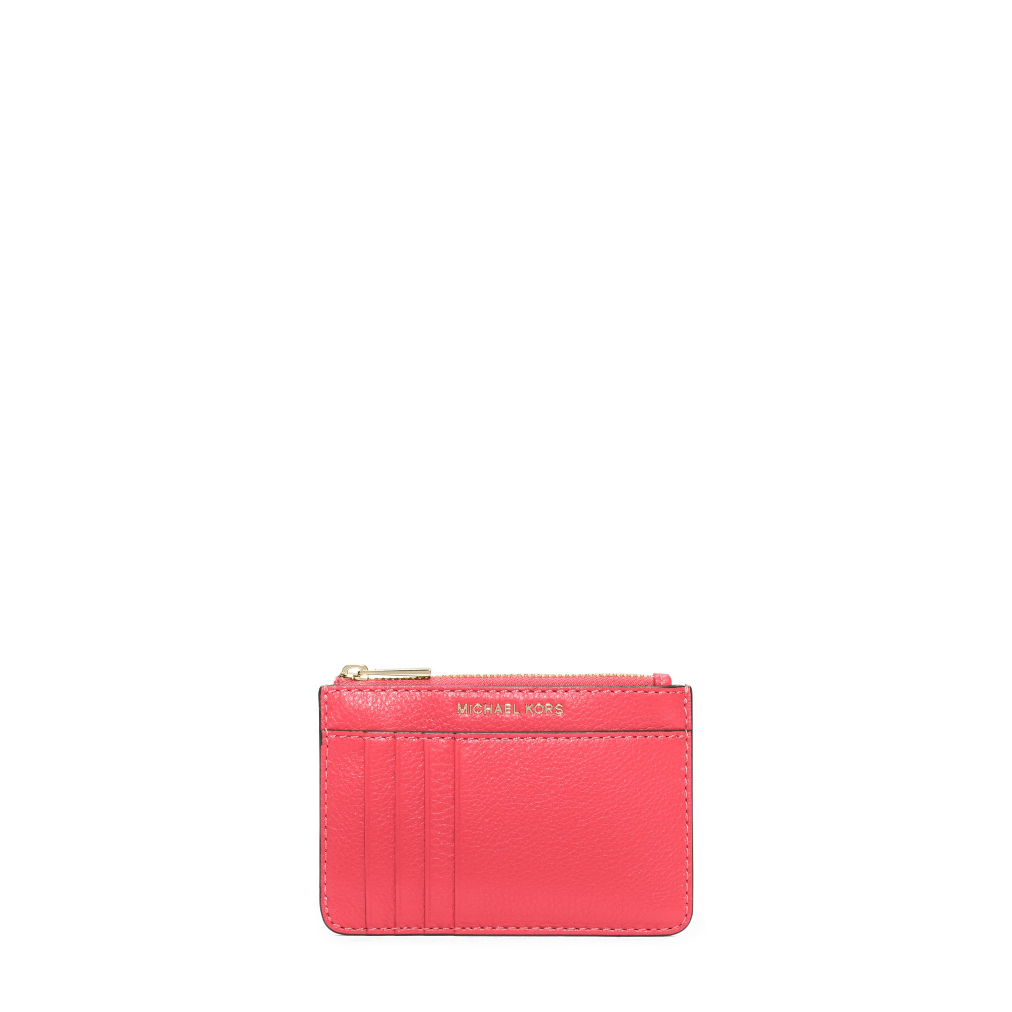 87bc8e853609 Michael Kors Liane Leather Card Holder in Pink - Lyst