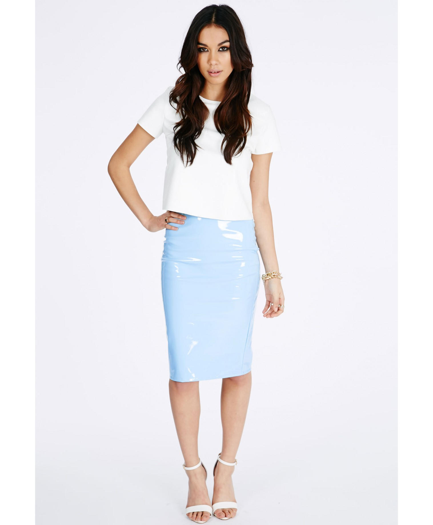 missguided mircia pvc midi skirt in baby blue in blue lyst