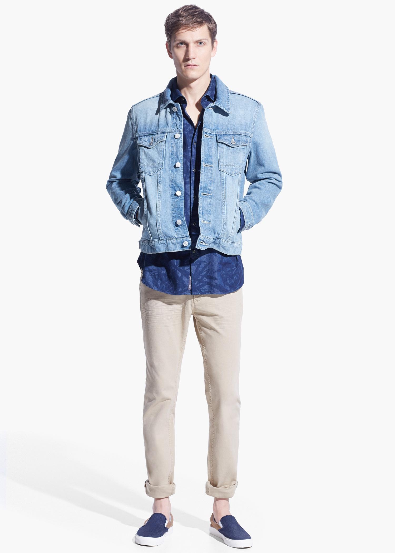 da3d772e5c0 Lyst - Mango Light Wash Denim Jacket in Blue for Men