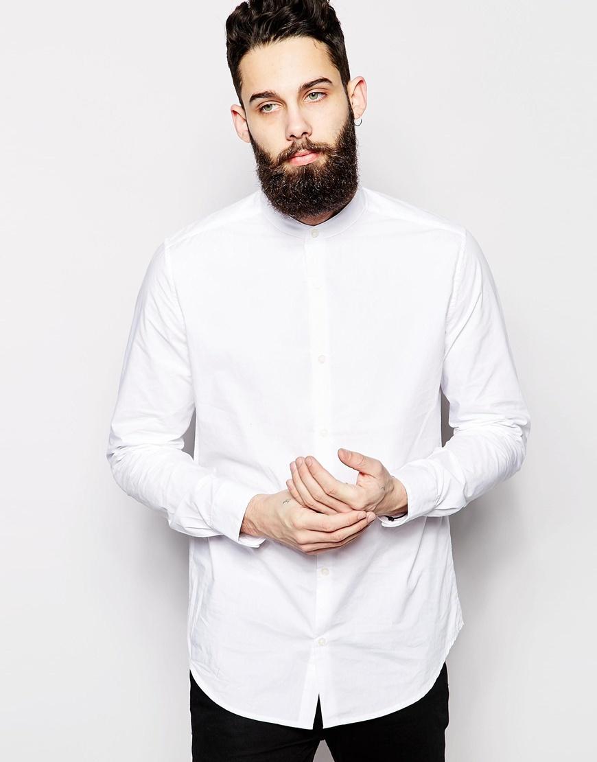 Only & sons Grandad Shirt in White for Men | Lyst