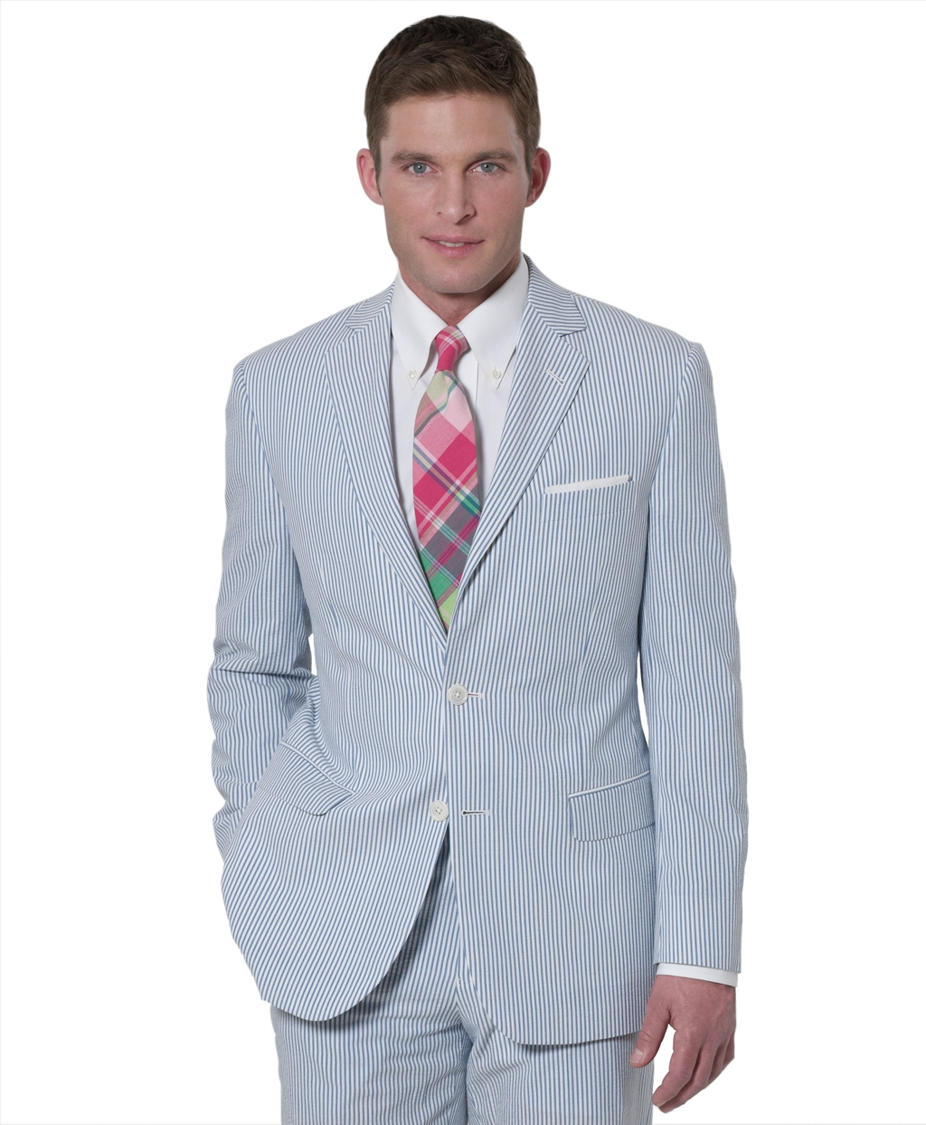 Brooks Brothers Seersucker Fitzgerald Fit Suit In Blue White Blue