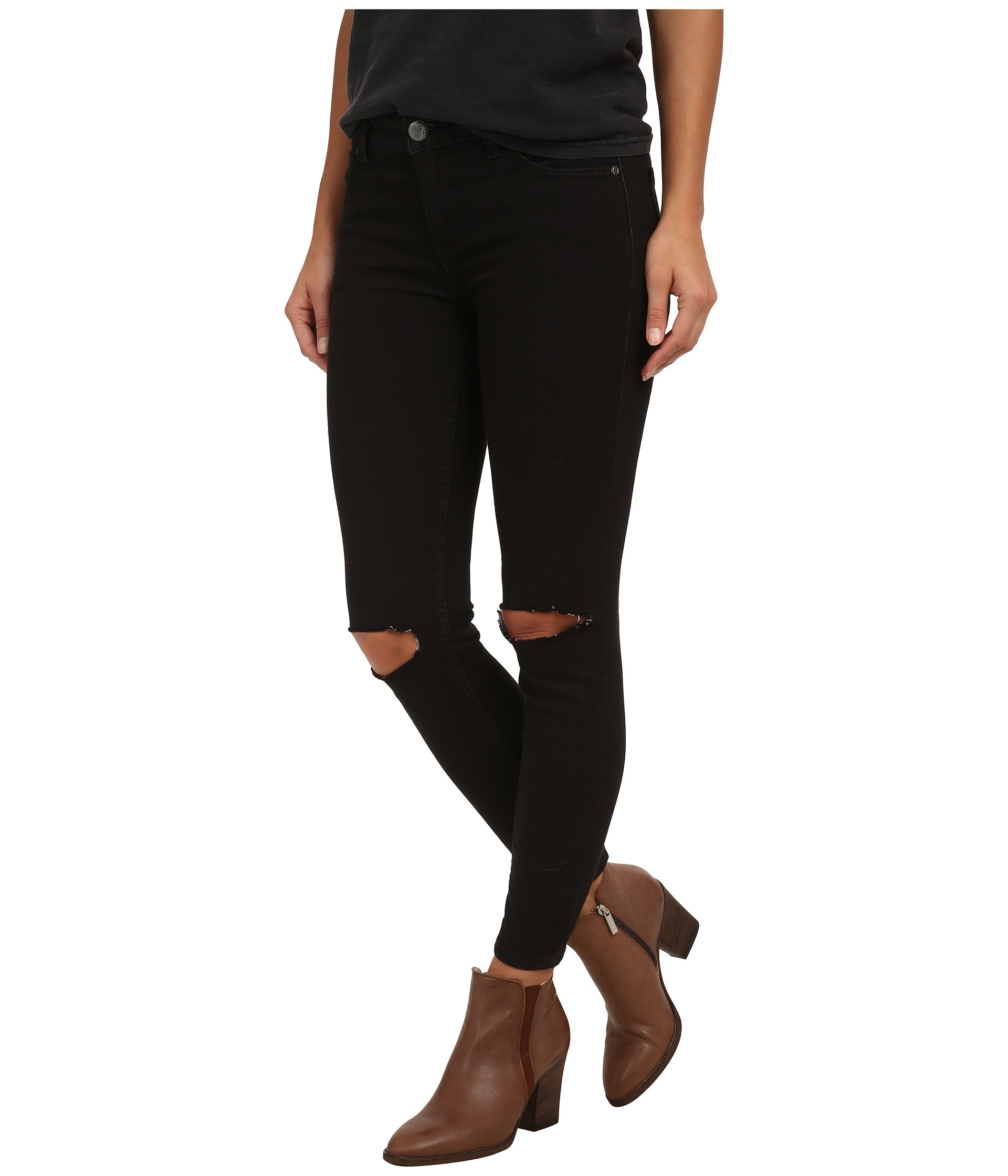 Free people Destroyed Jeans in Black | Lyst
