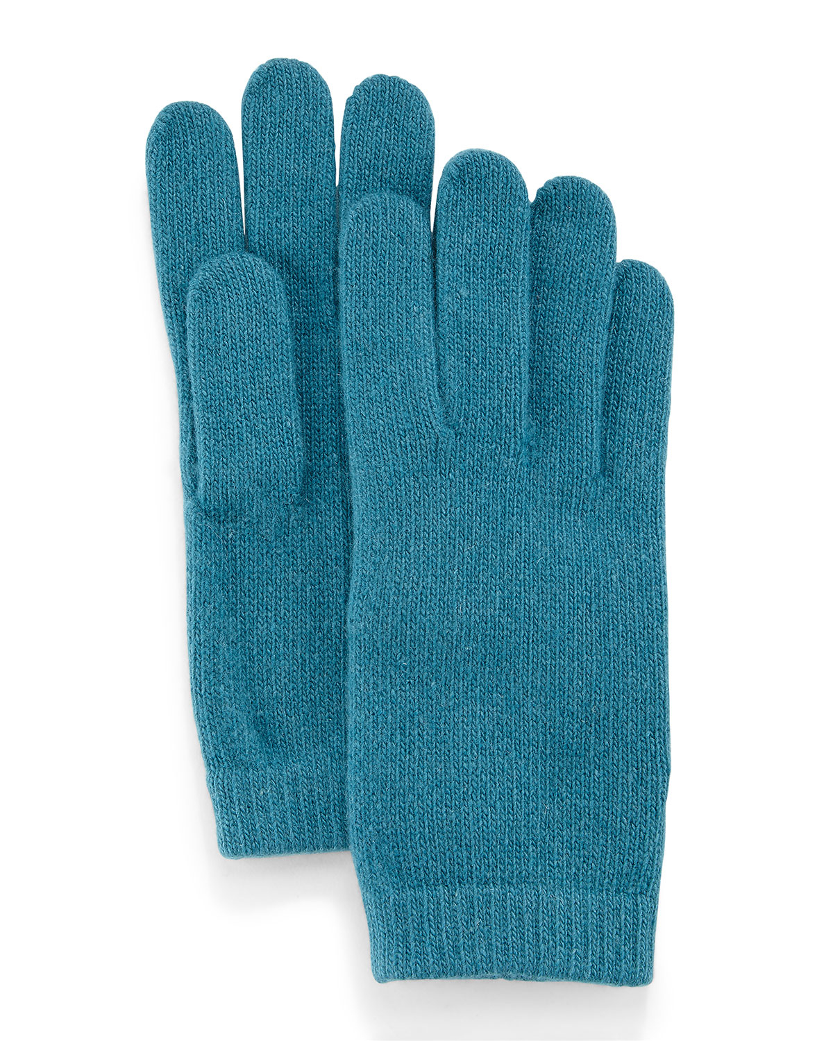 Knitting Pattern Cashmere Gloves : Portolano Cashmere Basic Knit Gloves in Teal Lyst