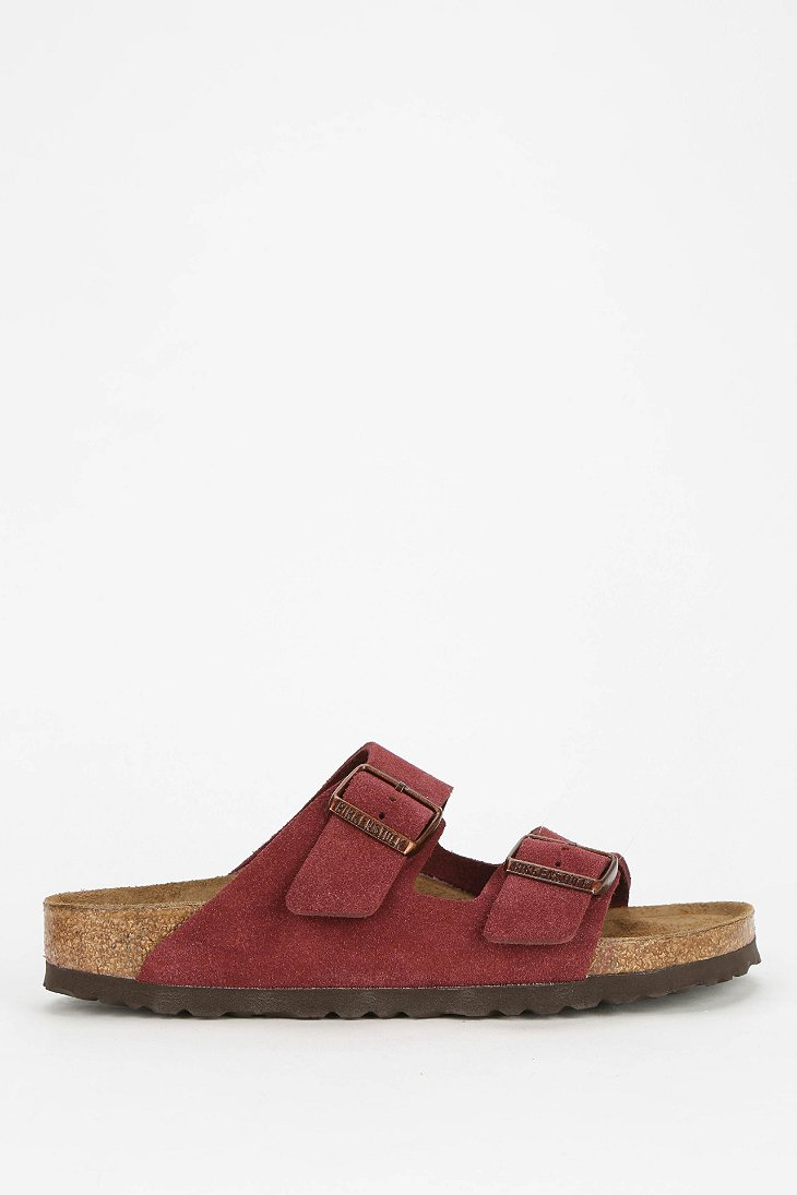 Lyst Birkenstock Arizona Soft Footbed Suede Sandal In Red