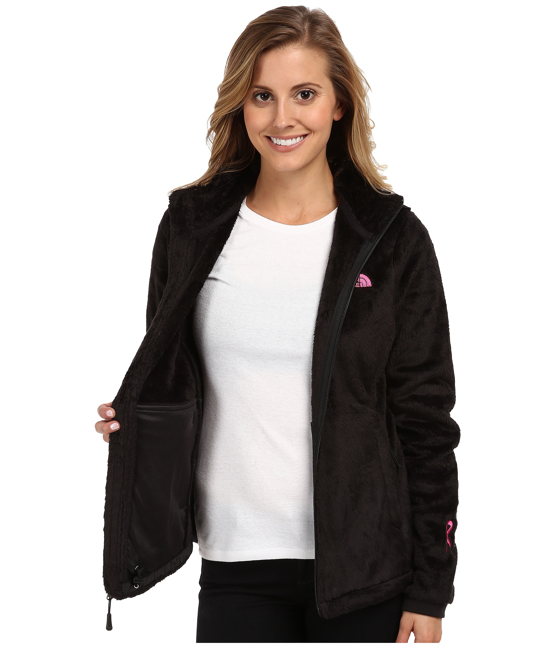 02a11a2ba8b2 ... sweden lyst the north face pink ribbon osito 2 jacket in black e368f  9abb2