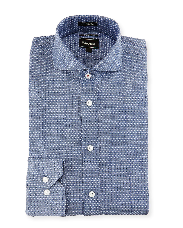 Lyst neiman marcus extra trim fit textured dot dress for Extra trim fit dress shirt