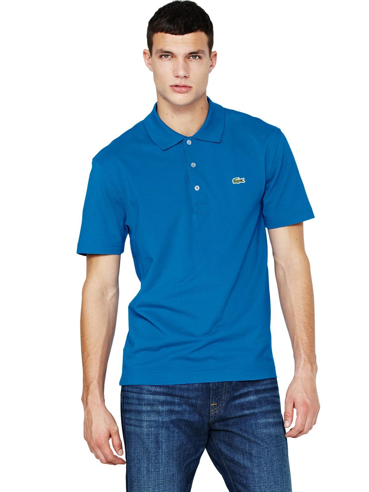 Lacoste lacoste mens short sleeve polo shirt blue in blue for Short sleeve lacoste shirt