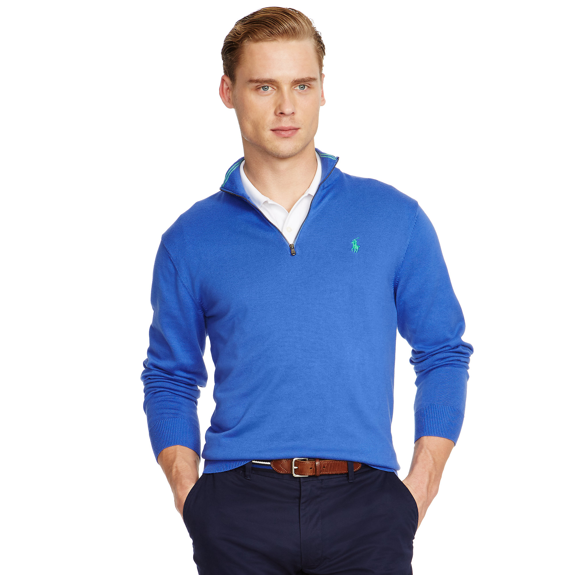 Gallery Buy Pink Pony Men\u0026#39;s Blue Pima Cotton Half-zip Sweater, starting at $30 from ...