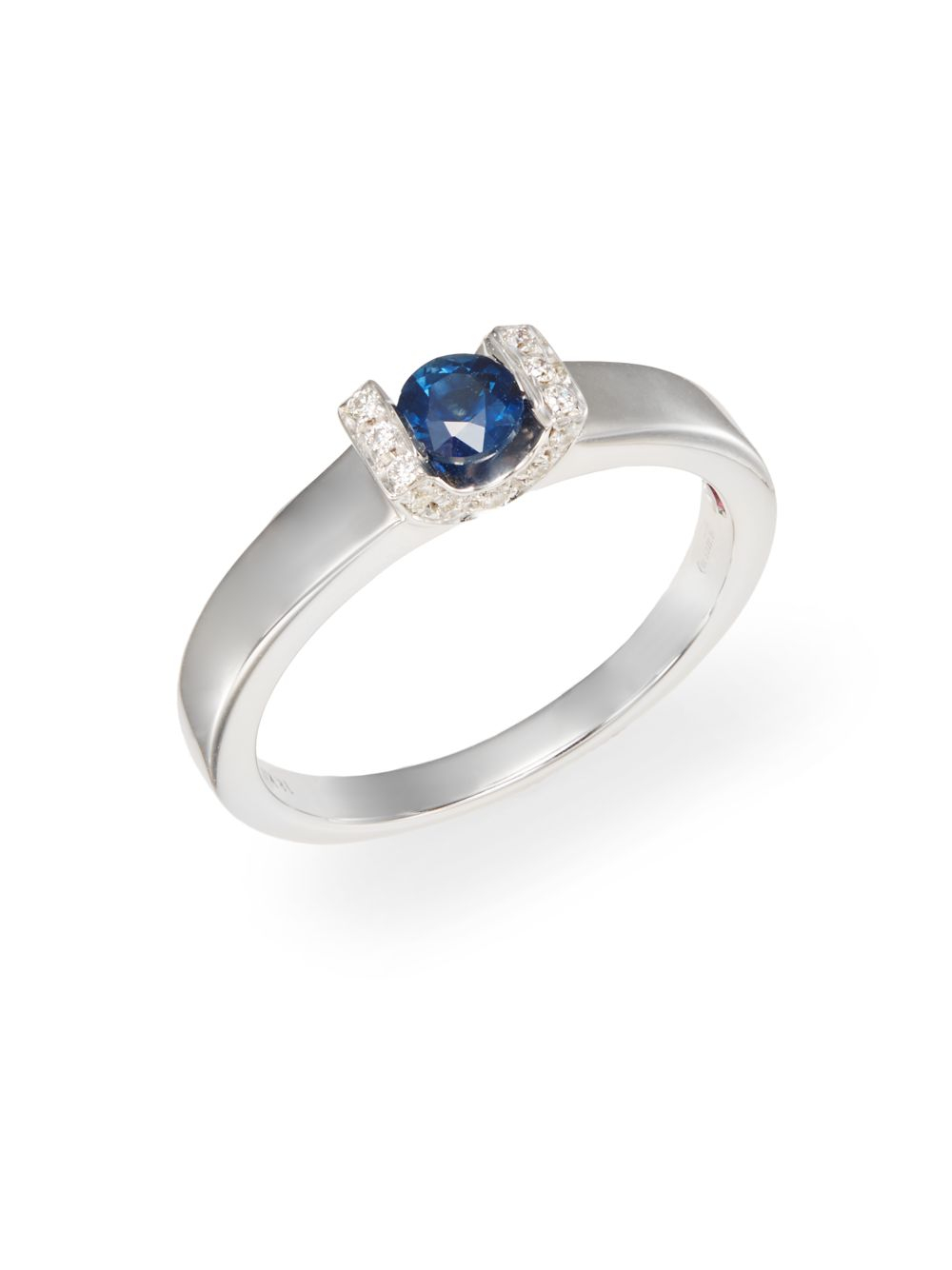 roberto coin sapphire diamond 18k white gold tension ring in blue lyst. Black Bedroom Furniture Sets. Home Design Ideas