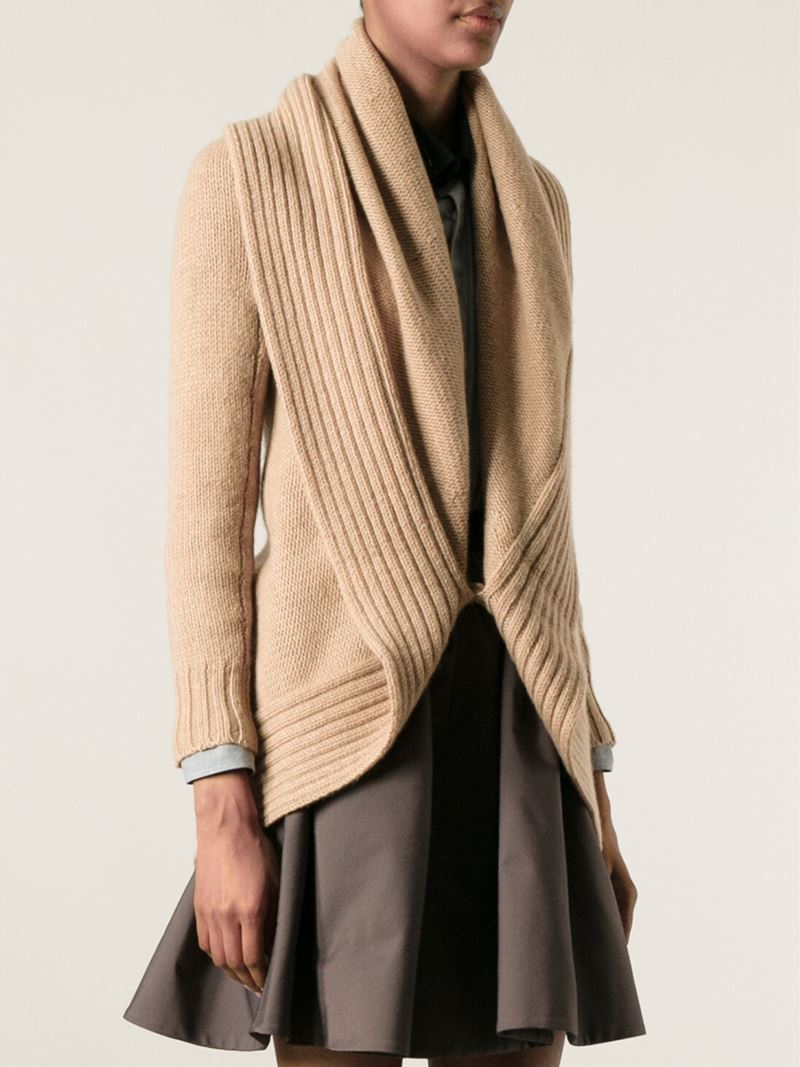 Ralph lauren black label Shawl Collar Cardigan in Natural | Lyst