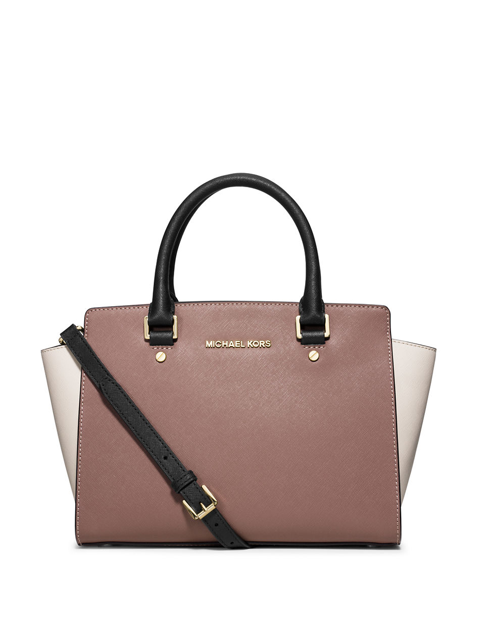 michael michael kors medium bi color saffiano leather satchel in pink. Black Bedroom Furniture Sets. Home Design Ideas