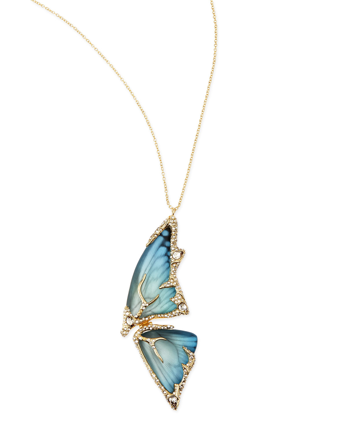 Alexis Bittar Pave Crystal Butterfly Wing Pendant Necklace