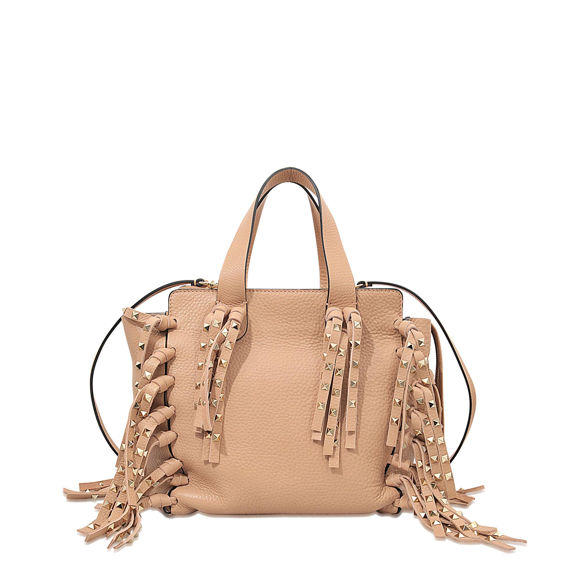 valentino c rockee fringe zipped bag in beige lyst
