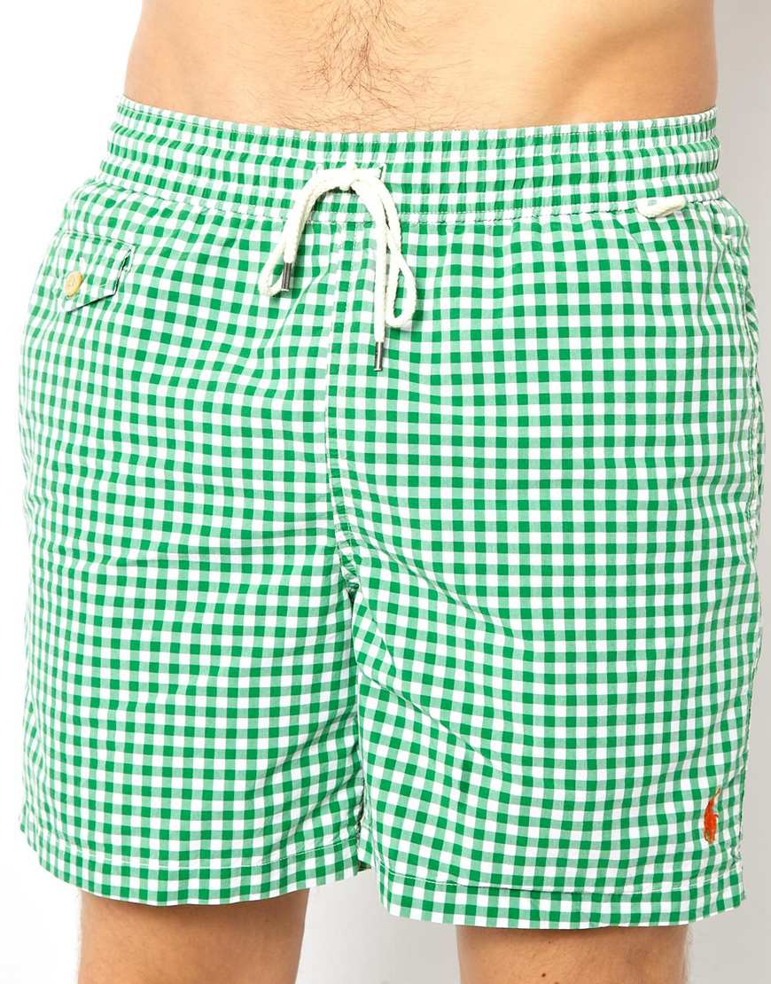 8f18a1fded ... wholesale lyst polo ralph lauren gingham green swim shorts in green for  men 26374 e6aed