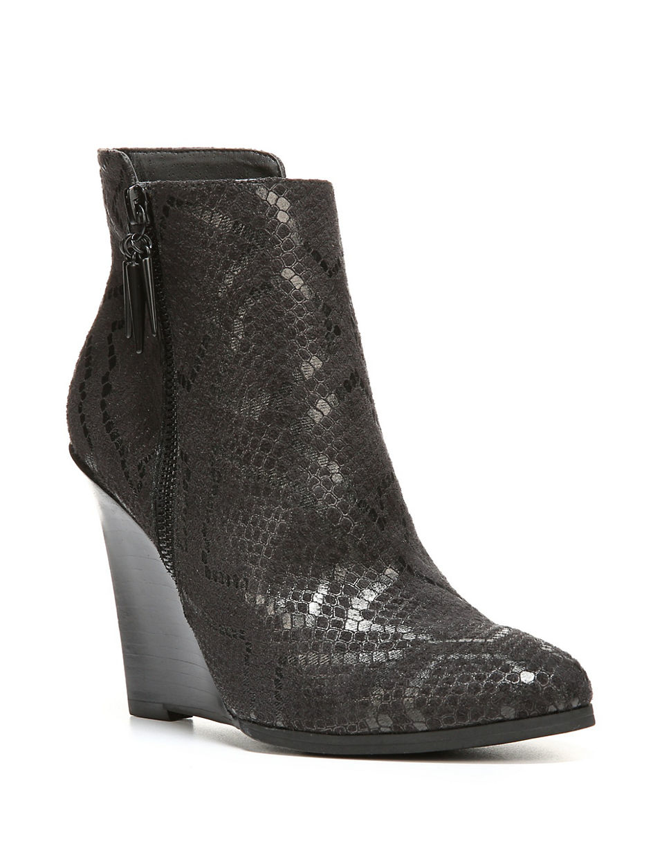 fergie embossed leather wedge ankle boots in black