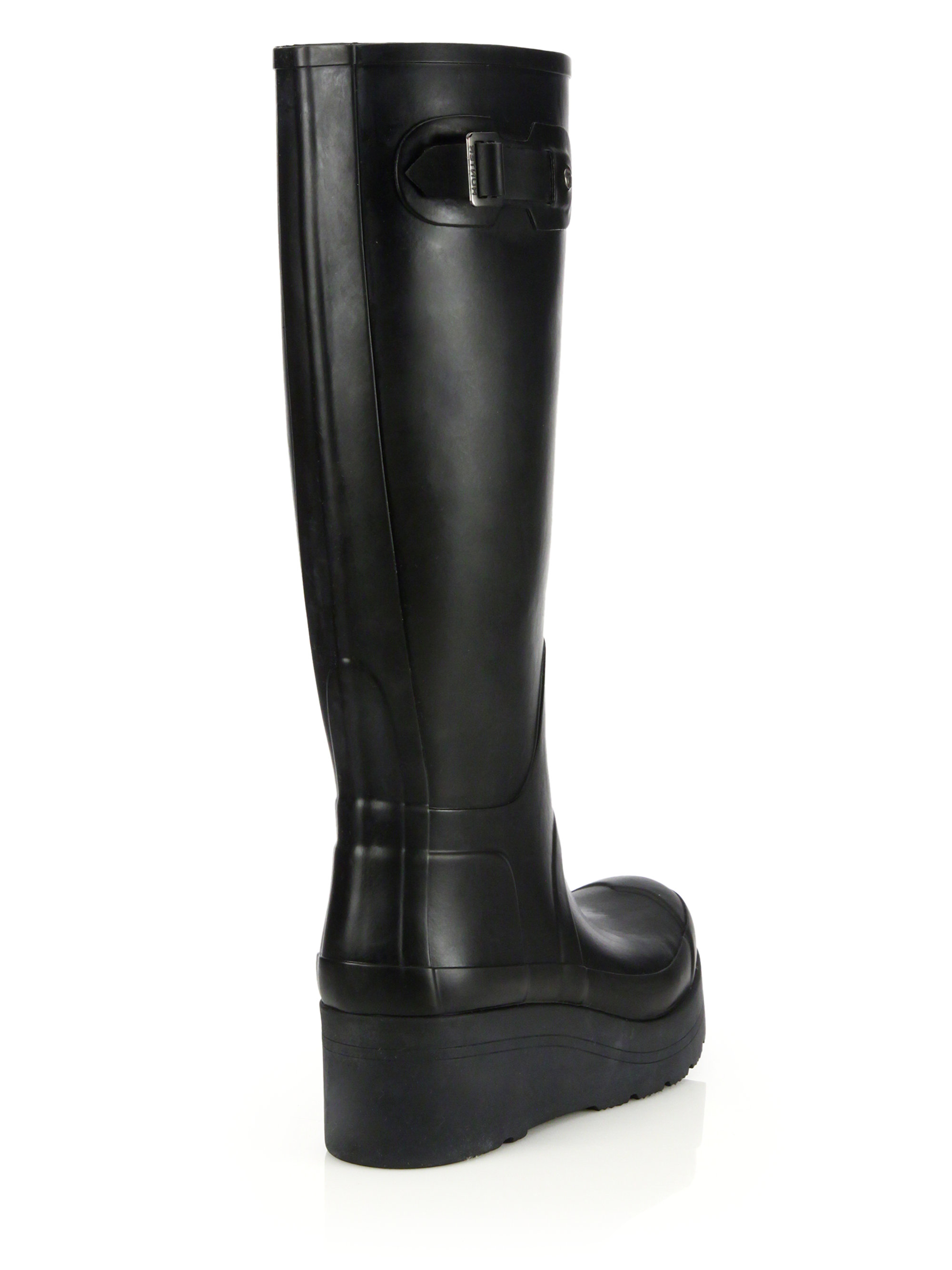 Hunter Original Low Wedge Rain Boots in Black | Lyst