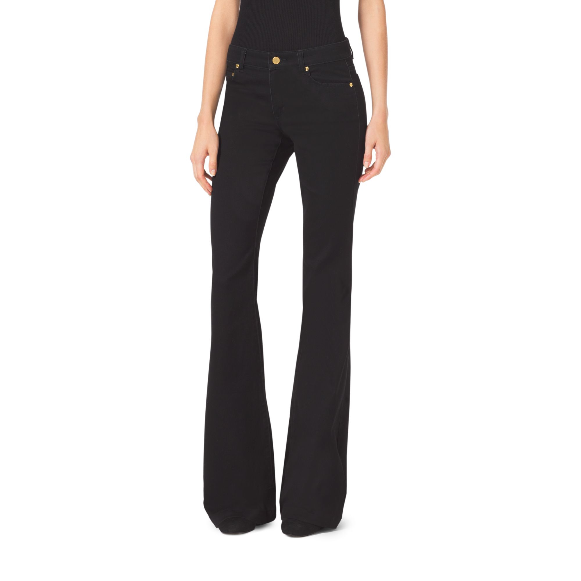 michael kors stretch flared jeans in black lyst. Black Bedroom Furniture Sets. Home Design Ideas