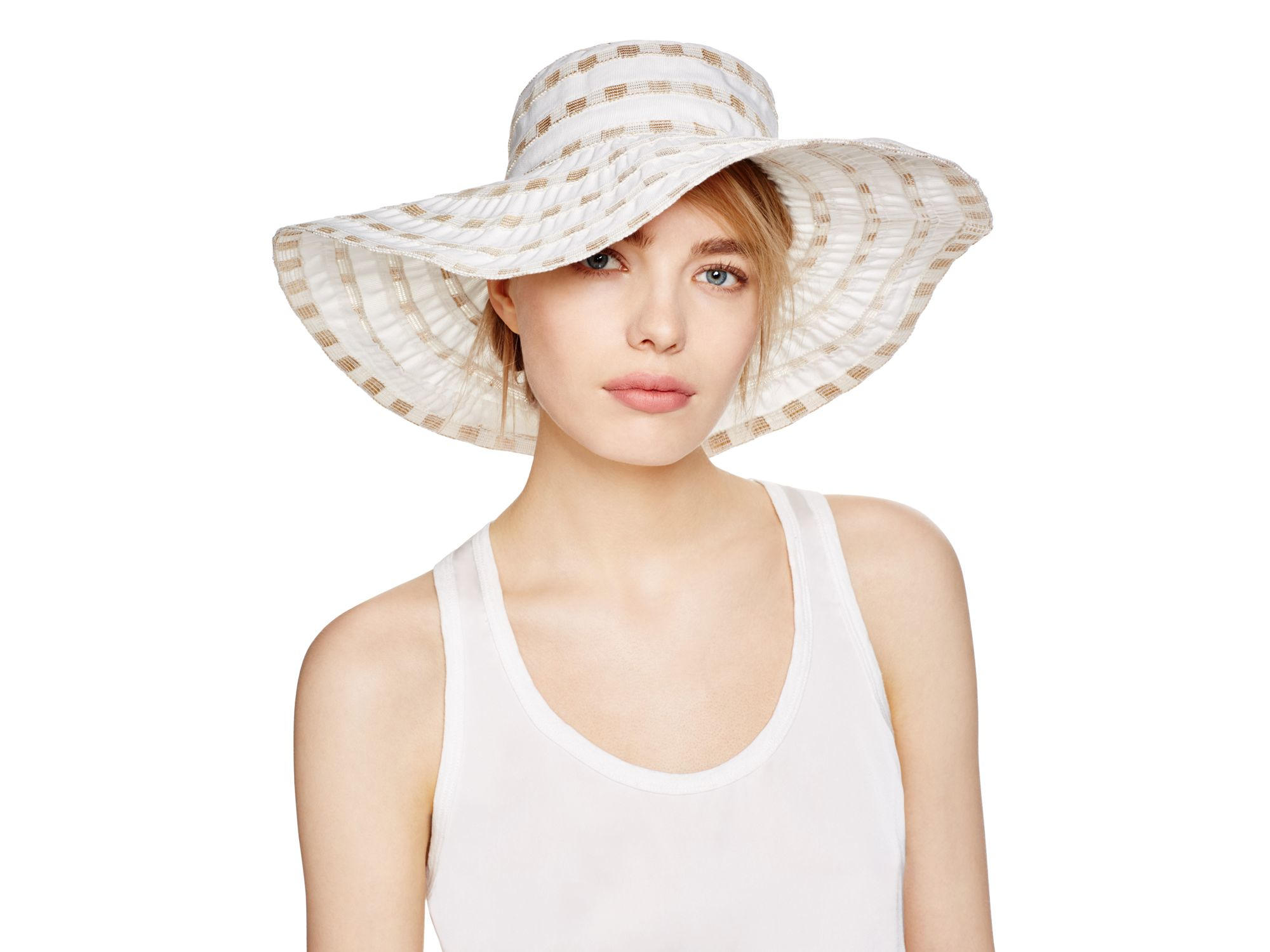 Bettina Packable Two Tone Ribbon Floppy Hat In White Lyst