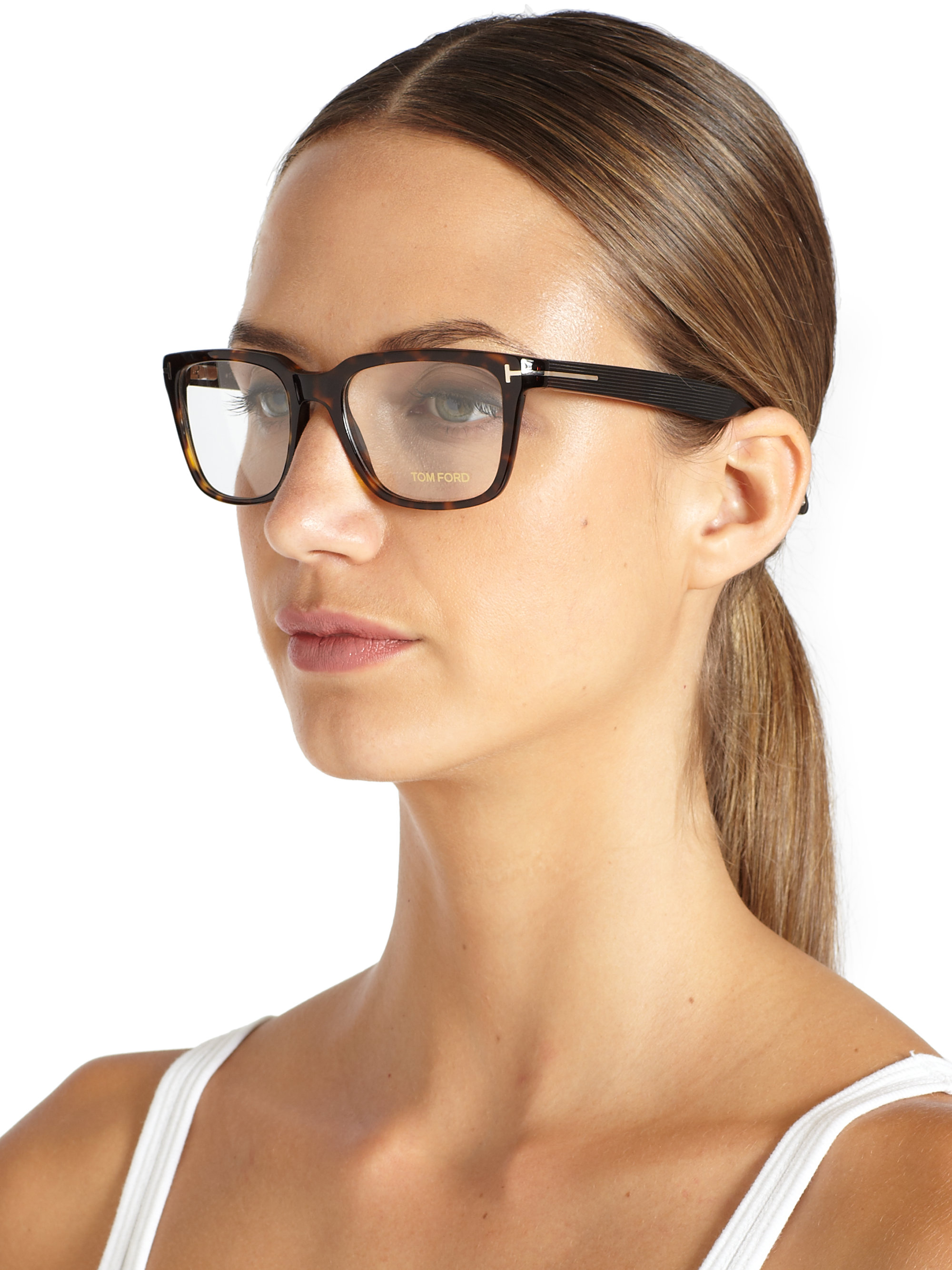 Tom Ford Square Optical Glasses In Brown For Men Lyst