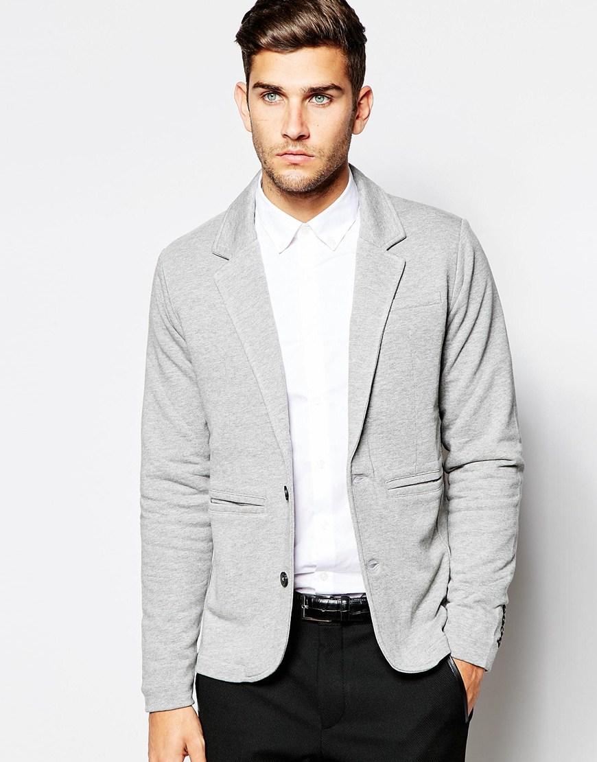 Selected Jersey Blazer In Slim Fit In Gray For Men Lyst