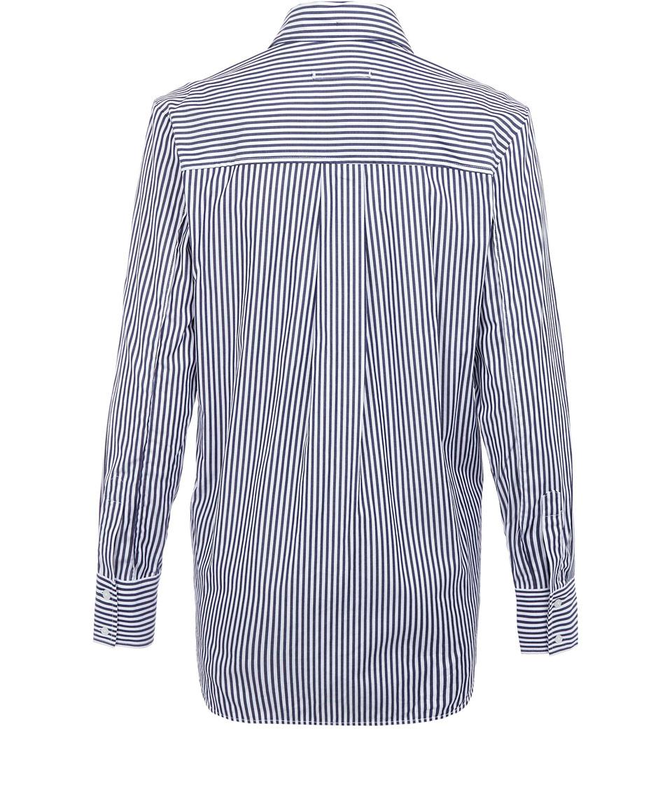 Lyst Victoria Beckham Blue Stripe Cotton Boyfriend Shirt
