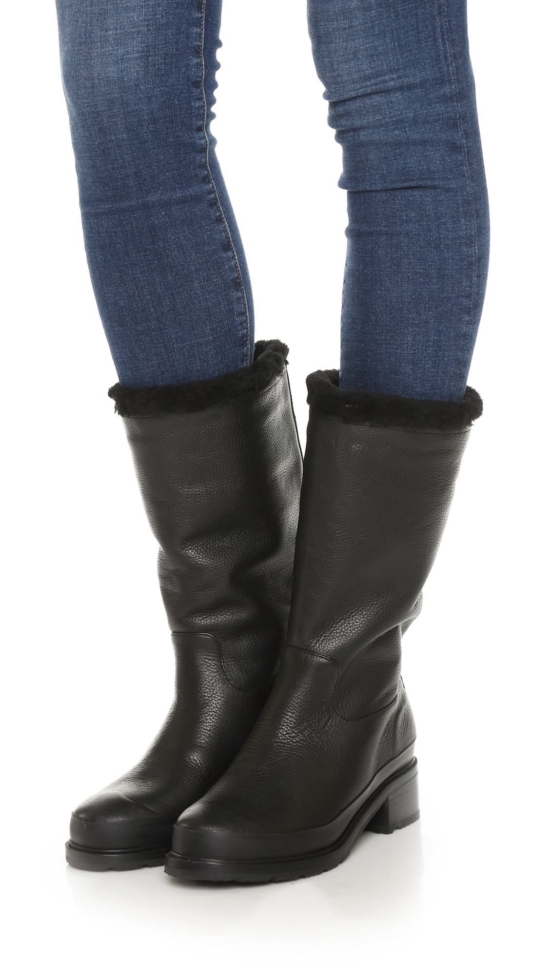 Hunter Original Shearling Lined Leather Boots in Black | Lyst